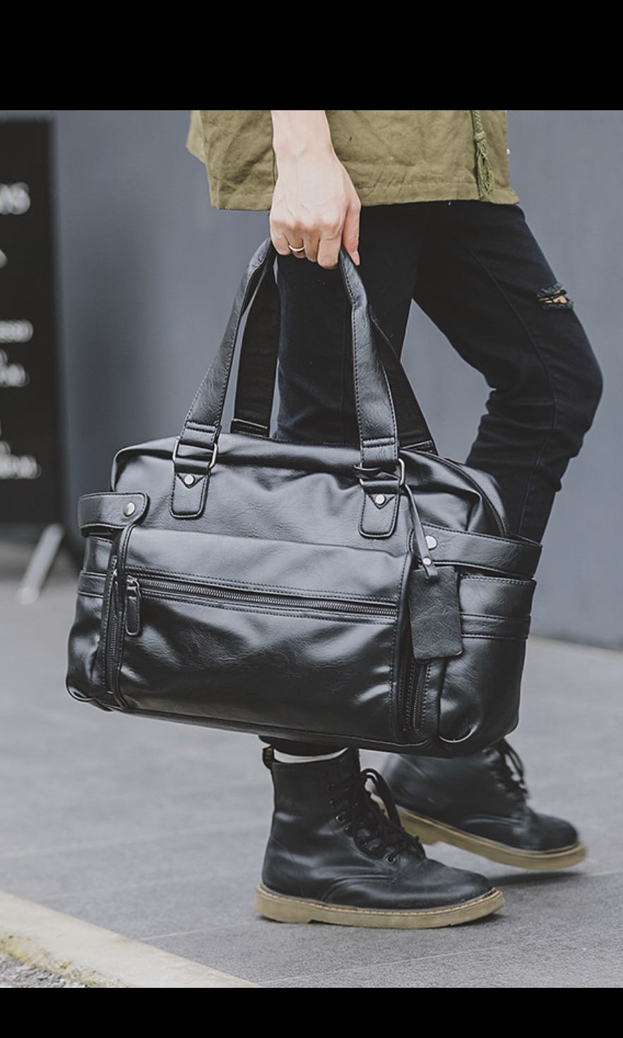 ✓️INSTOCK! Weekender 2 Ways Minimalist Mens Black Duffel Bag ... 6b0ae2aab087b