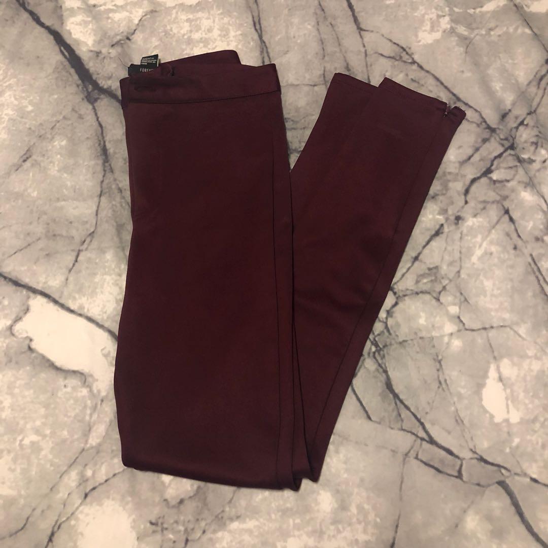 Maroon High-Waisted Pants