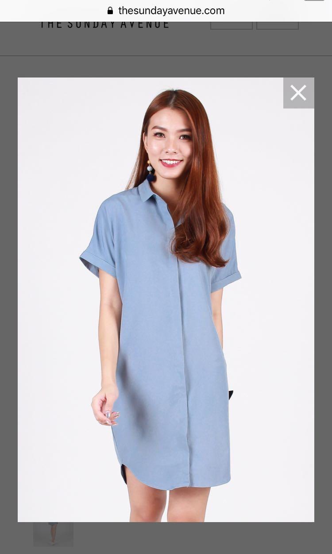 e497de2364 New] Hollie Oversized Shirt Dress in Powder Blue, Women's Fashion ...