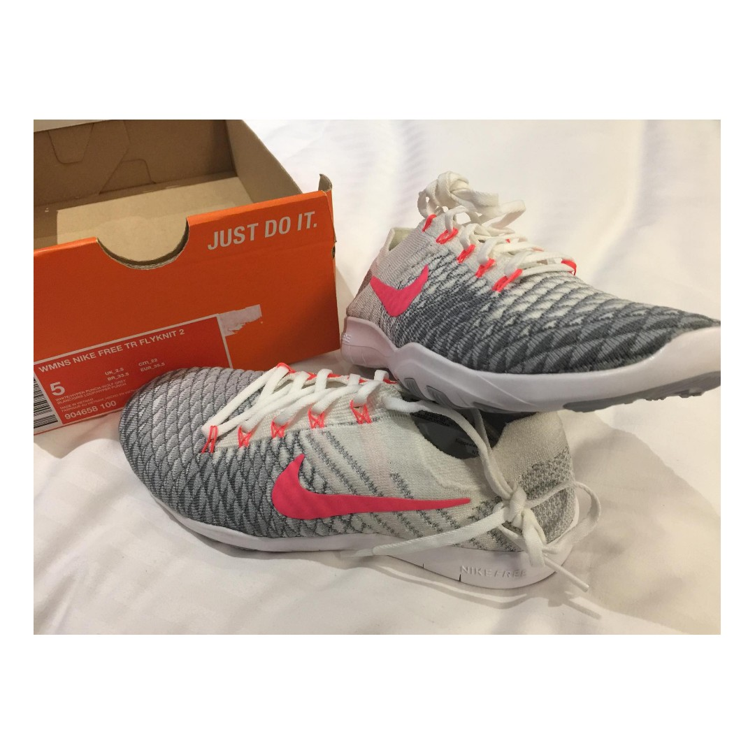 Nike Free TR Flyknit 2 white hyper punch wolf grey womens shoes US 5 BNEW 0424b541c