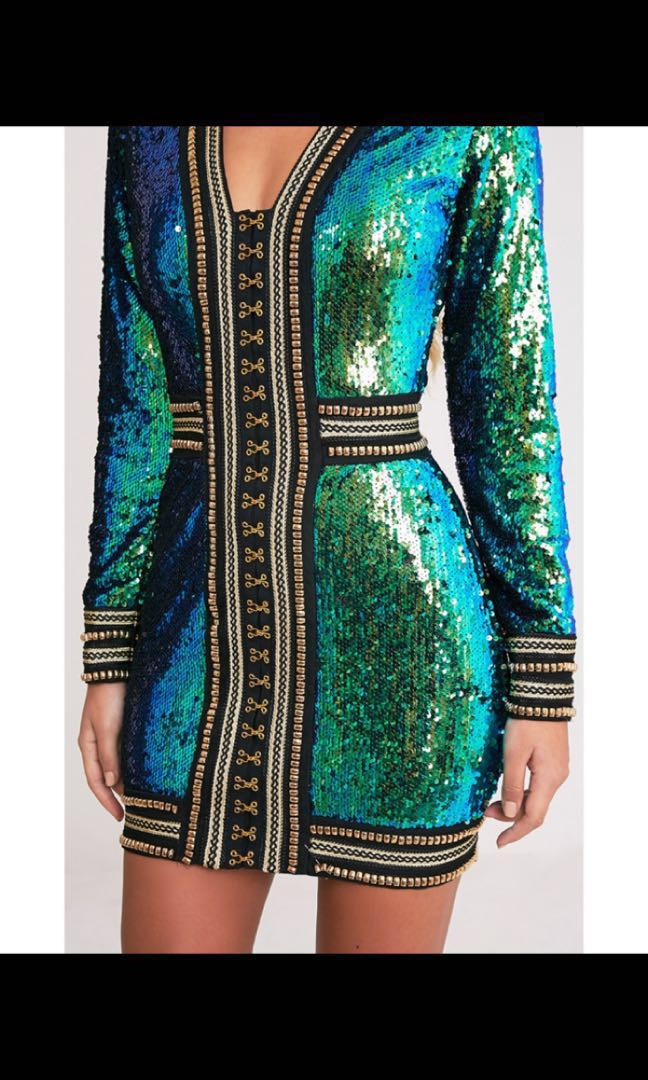 115e7d5a86b5 Pretty little thing Anisha Green Premium Embellished Sequin Bodycon ...