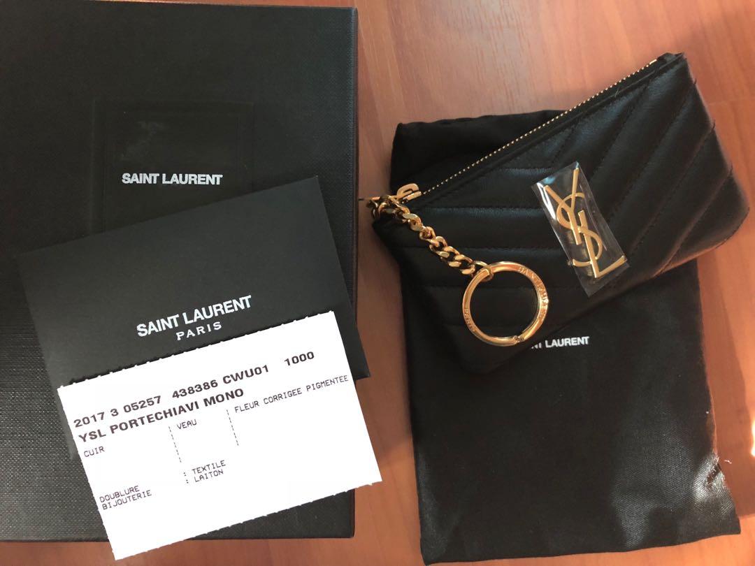 7a09e0e816f Saint Laurent YSL KEY POUCH IN BLACK MATELASSÉ LEATHER, Luxury, Bags ...
