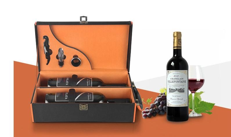 The Wine Box Packaging Box Gift Box Wine Double Pack Leather Box Box With Lafite Tool