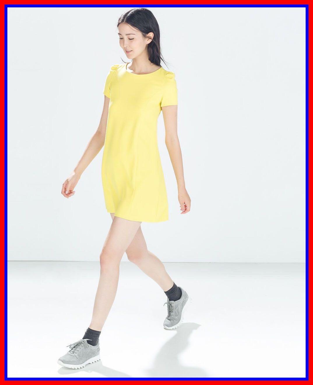 fbb7704a Zara yellow short sleeved dress, Women's Fashion, Clothes, Dresses ...