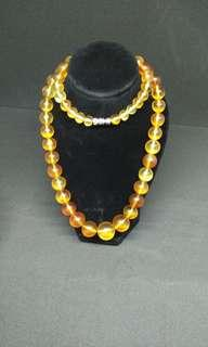 Pure round beads amber Necklace
