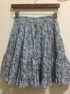 碎花短裙 淺藍 Floral print skirt