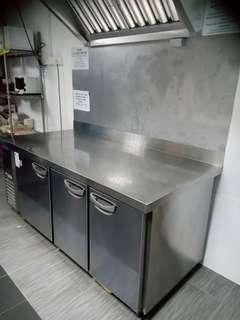 Stainless steel table, rack and fridge for cafe/ restaurant