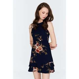 TCL Erin Floral Dress in Navy