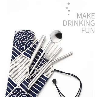 (R*NEW* REUSABLE STAINLESS STEEL STRAWS & STIRRER 7PCS SET (SILVER)