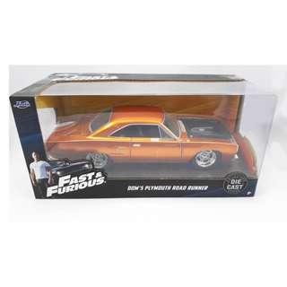 Jada Toys Fast Furious 1:24 scale Dom's Plymouth Road Runner