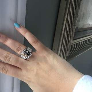Michael Kors size 7 authentic white and silver buckle ring
