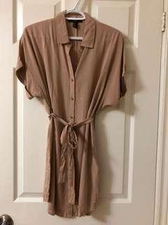 Beige Shirt Dress with Waist Belt