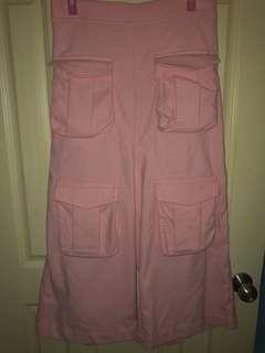 🚚 粉色多口袋寬褲