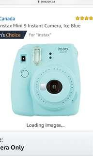 instax blue Polaroid camera + case