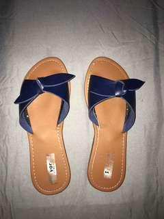 Navy Blue Leather Sandals