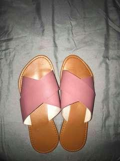 Baby Pink Leather Slip Ons