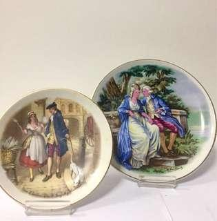 Set of 2 Fine Porcelain Cabinet Plates with Victorian Scenes