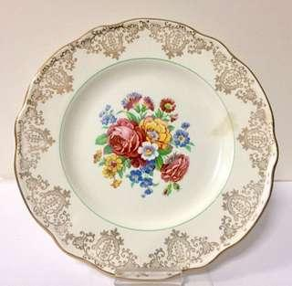 Fine Porcelain Plate with 22 Karat Gold by Hanley, England