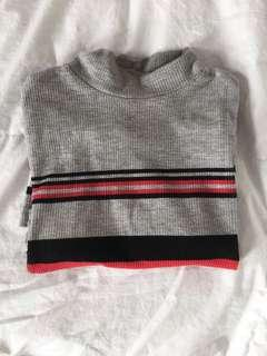 Grey/Red striped tight turtleneck (XS)