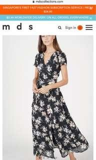 MDS Dhara Wrapped Dress in black floral