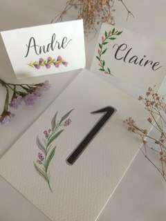 Handmade place card and Table number card