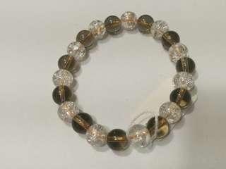 加持 天然晶瑩 白水晶➕茶晶 手串 手鏈 約8mm 看得見的閃爍迷人 特惠結緣