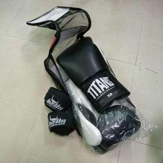 Boxing Gloves (Titans) with bag and Hand Wraps (Bulls)