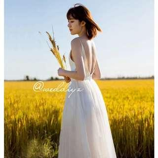 White Maxi Gown Dress Simple Beach Photoshoot Classic Wedding Gown