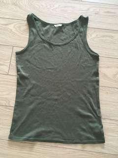 Uniqlo Army Green Cotton Sleeveless Tank Top