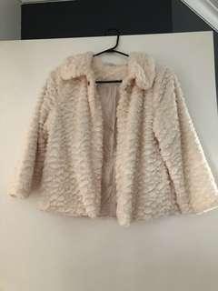 Fluffy cream jacket