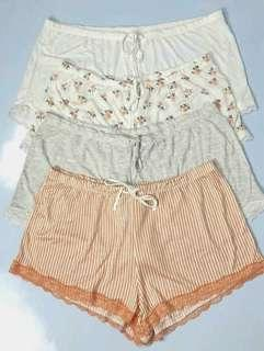 H&M Cotton Drawstring Boxer Pyjama Shorts with Lace (Celana Pendek Tidur / Santai, Katun, Renda, Tali Serut Ikat) #1010