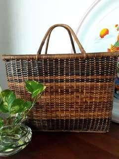Vintage 1970s Wet Market Pasat Wicker Rattan Grocery Basket