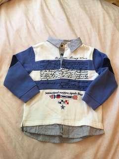 🚚 mini pouce假兩件長袖polo上衣 90cm