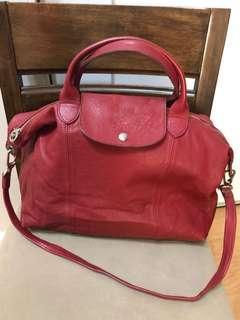 Authentic Longchamp Le Pliage Cuir Top Handle Large Leather Bag