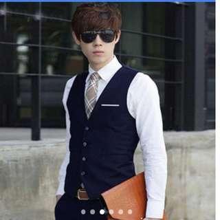 Man Biz Slim Fit Suit Vest Casual Formal Jacket (navy blue)