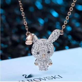 Crystal Bunny 925 Sterling Silver Pendant Necklace