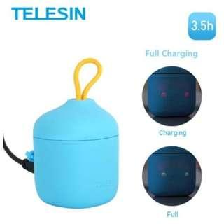 TELESIN ALLIN BOX Only Dual Slot Charger and SD Card Reader Storage Case for Canon LP-E6 / LP-E6N (Blue / Gey)