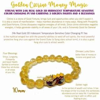 Feng Shui Golden Citrine Money Magic strung w/ 24k Real Gold 3D Color Changing Pi Yao for Wealth & Protection