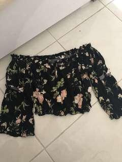 Free with purchases over $30 - Mooloola off the shoulder black flora top size 10 worn once only