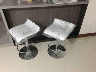$150 for 2 piece white pvc leather hydraulic bar chair