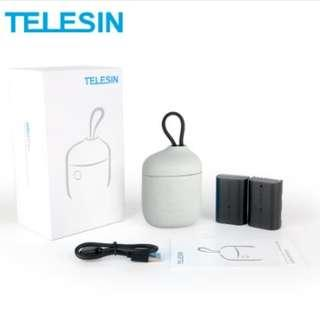 TELESIN ALLIN BOX + 2 Batteries Dual Slot Charger and SD Card Reader Storage Case for Canon LP-E6 / LP-E6N (Blue / Gey)