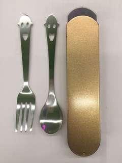 環保餐具 食物匙叉 spoon and fork baby spoon and fork with case holder
