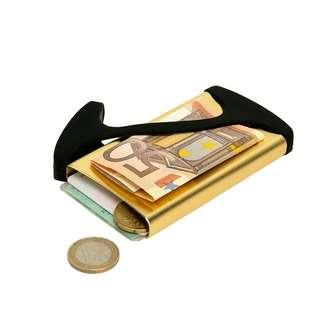 Muemma Hug Card case wallet,  Designed in Germany. Matte Aluminium with silicon Strap
