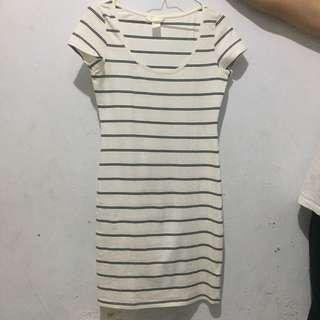 H&M Basic Striped White Dress