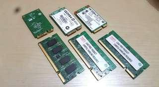 Laptop RAM DDR2 (3pcs) + 3 WiFi Cards For Laptop/Notebook - GOOD CONDITION (Read Desc) !! $50 Takes All !!