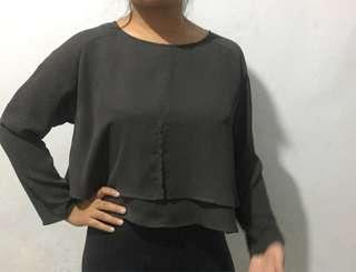 Cropped Grey Blouse