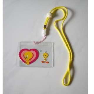 Yellow lanyard with Tweety cardholder