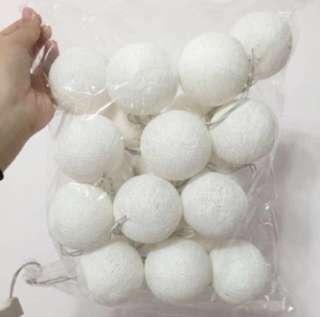 Cotton Ball Fairy Light In White