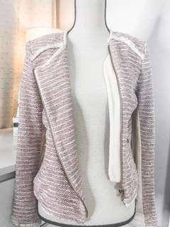Mango Posh Suit Jacket • tweed style • pastel pink with shoulder pads and antique gold zipper detail • very cute