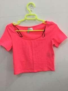 H&M Neon pink crop top